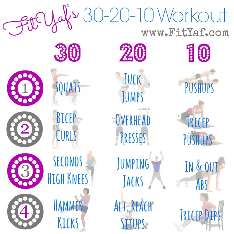 FitYaf's 30-20-10 Fitness Friday Workout